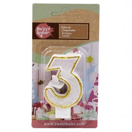 Vela cumpleaños sweetkolor oro numero 3