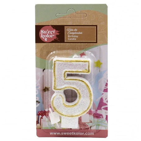 Vela cumpleaños sweetkolor oro numero 5