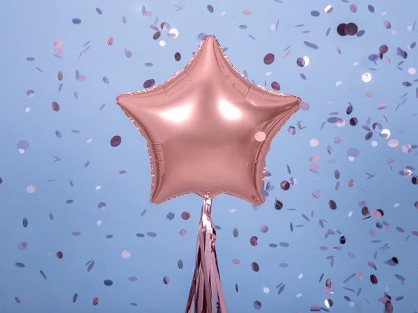 globo foil estrella rosa oro rosado