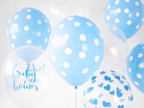 globo helio azul lunares topos blancos