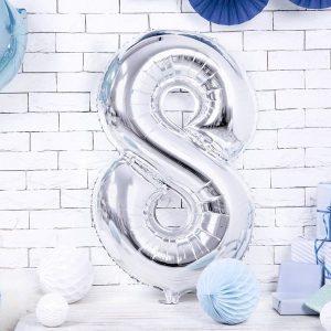 globo numero 8 plateado helio plata