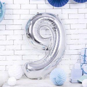globo numero 9 plateado helio plata