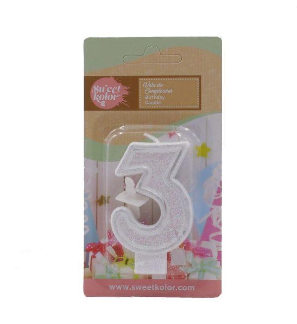 Vela cumpleaños sweetkolor plata numero 3