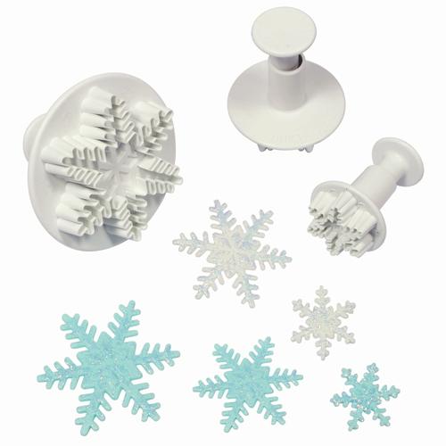 set 3 cortadores expulsor forma copo nieve