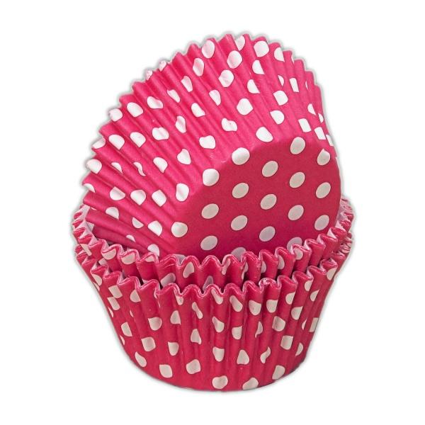 capsulas cupcakes fucsia lunares