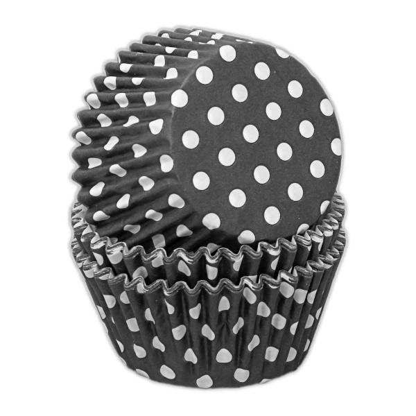 capsulas cupcakes negro lunares