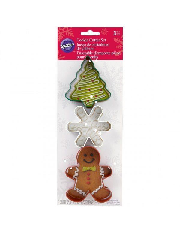 Set 3 cortadores wilton navidad abeto muñeco copo