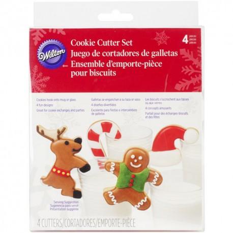 Set 4 cortadores navidad wilton muñeco reno bastón gorro