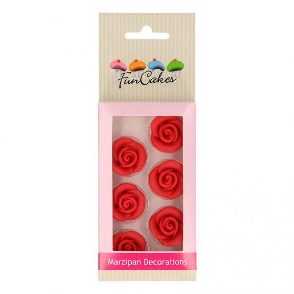 decoraciones funcakes rosas rojas de mazapan