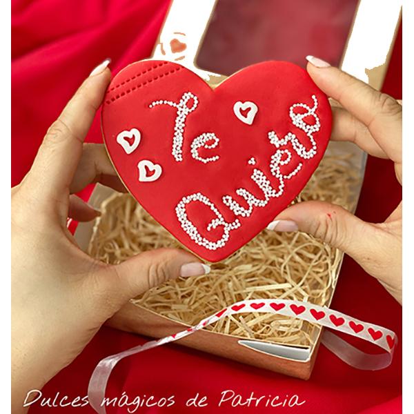 Dulces Mágicos de Patricia caja san valentín galleta te quiero