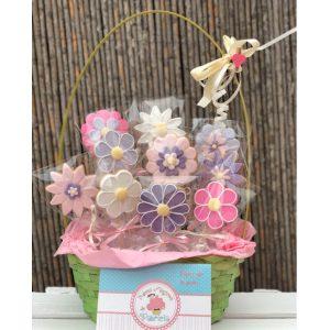Dulces Mágicos de Patricia pack cesta de flores galletas