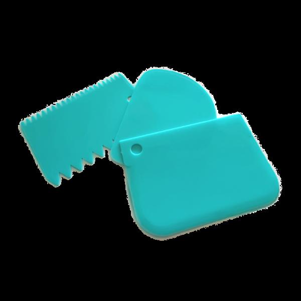 set de 3 mini rasquetas cornalinas en plástico de la marca azucren