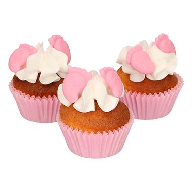 decoraciones de azúcar bebe pies niña color rosa