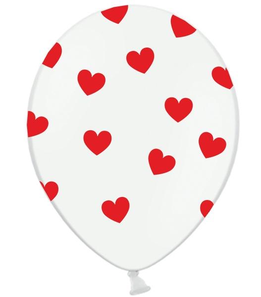 globo blanco corazones rojo