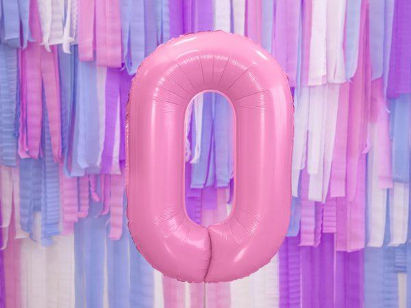 globo numero 0 rosa foil helio