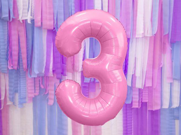 globo numero 3 rosa foil helio