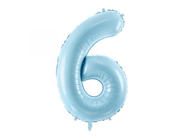 globo numero 6 azul foil helio