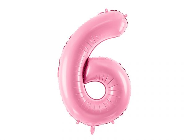 globo numero 6 rosa foil helio