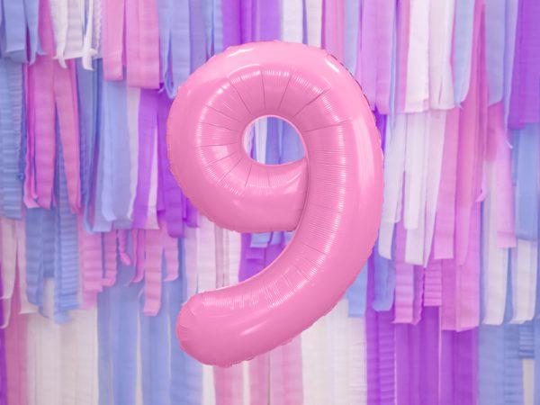 globo numero 9 rosa foil helio