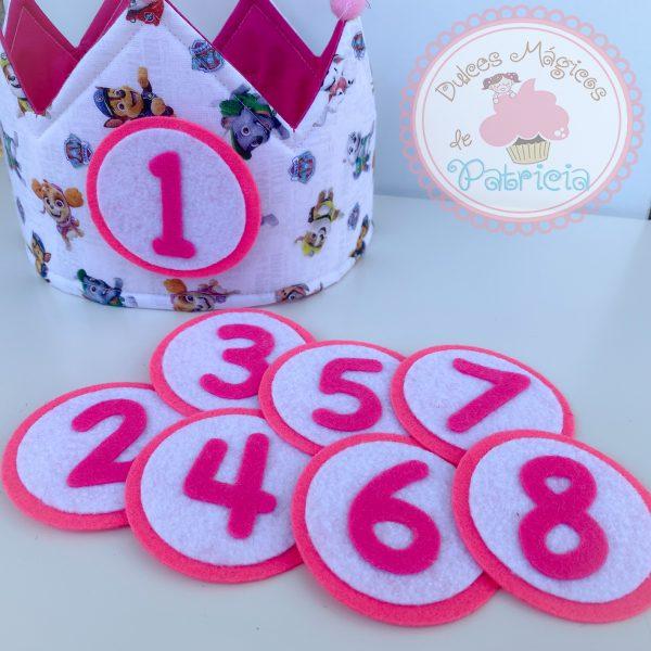 corona tela cumpleaños hecha a mano patrulla canina rosa