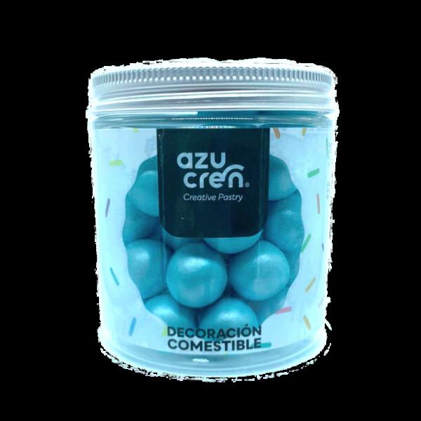 bolas de azúcar, chocolate y cereales en color azul claro de la marca azucren