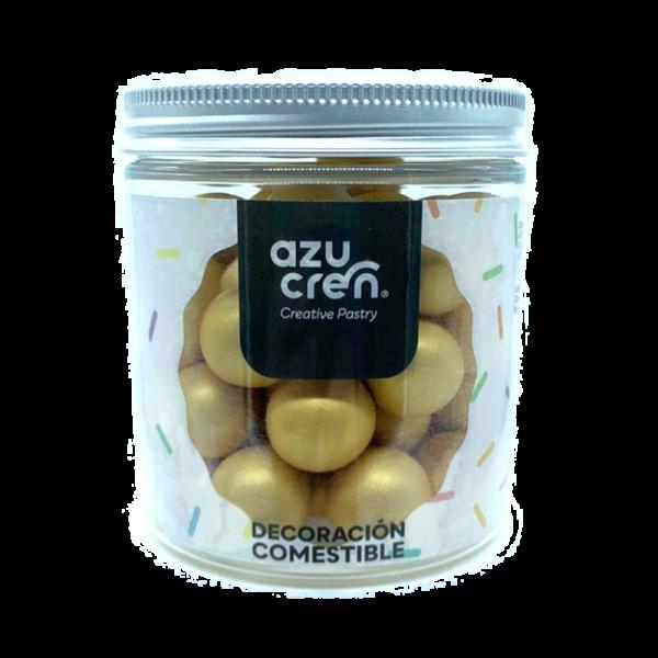 bolas de azúcar, chocolate y cereales en color oro metalizado de la marca azucren