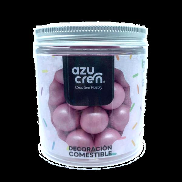 bolas de azúcar, chocolate y cereales en color rosa de la marca azucren